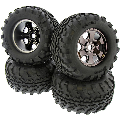 HPI Racing 1/8 Savage XL Flux GT2 Tires & Warlock Black Chrome Wheels