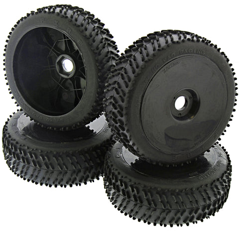 HoBao 1/8 Hyper 7 TQ Fire Racing Tires & Black Dish Wheels, 17mm
