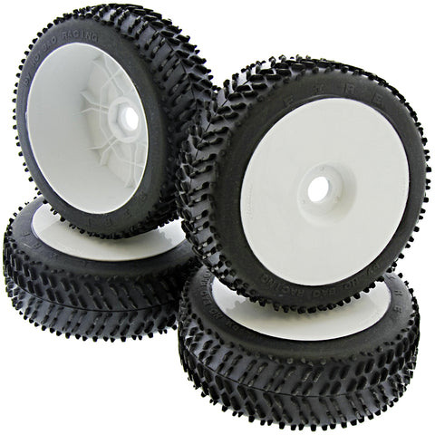 HoBao 1/8 Hyper 7 TQ Fire Racing Tires & White Dish Wheels, 17mm