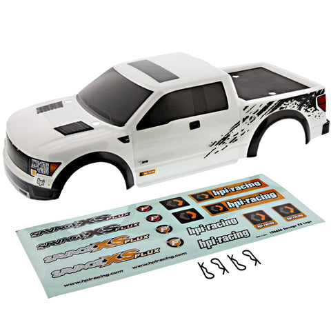 HPI Racing 1/12 Mini Savage XS Flux Ford F-150 SVT White Raptor Body