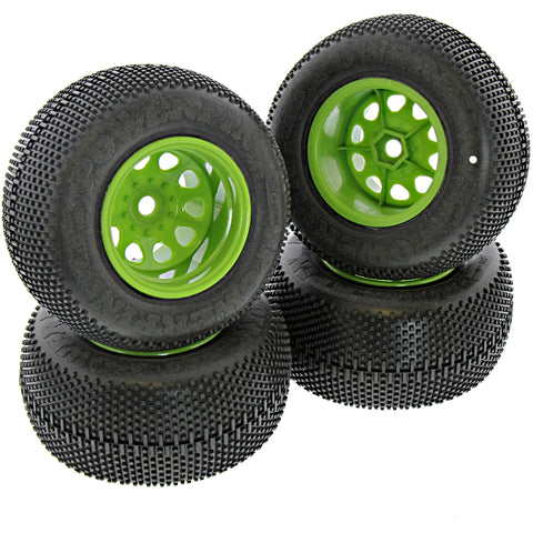 HPI Racing 1/12 Mini Savage XS Flux Powerpin Tires & Green Classic King Wheels