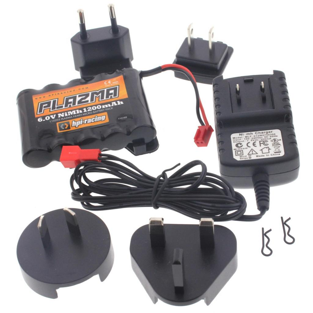mRS4 Battery & Charg 111224 Plazma 6v 1200mAh NiMH Battery &  Charger