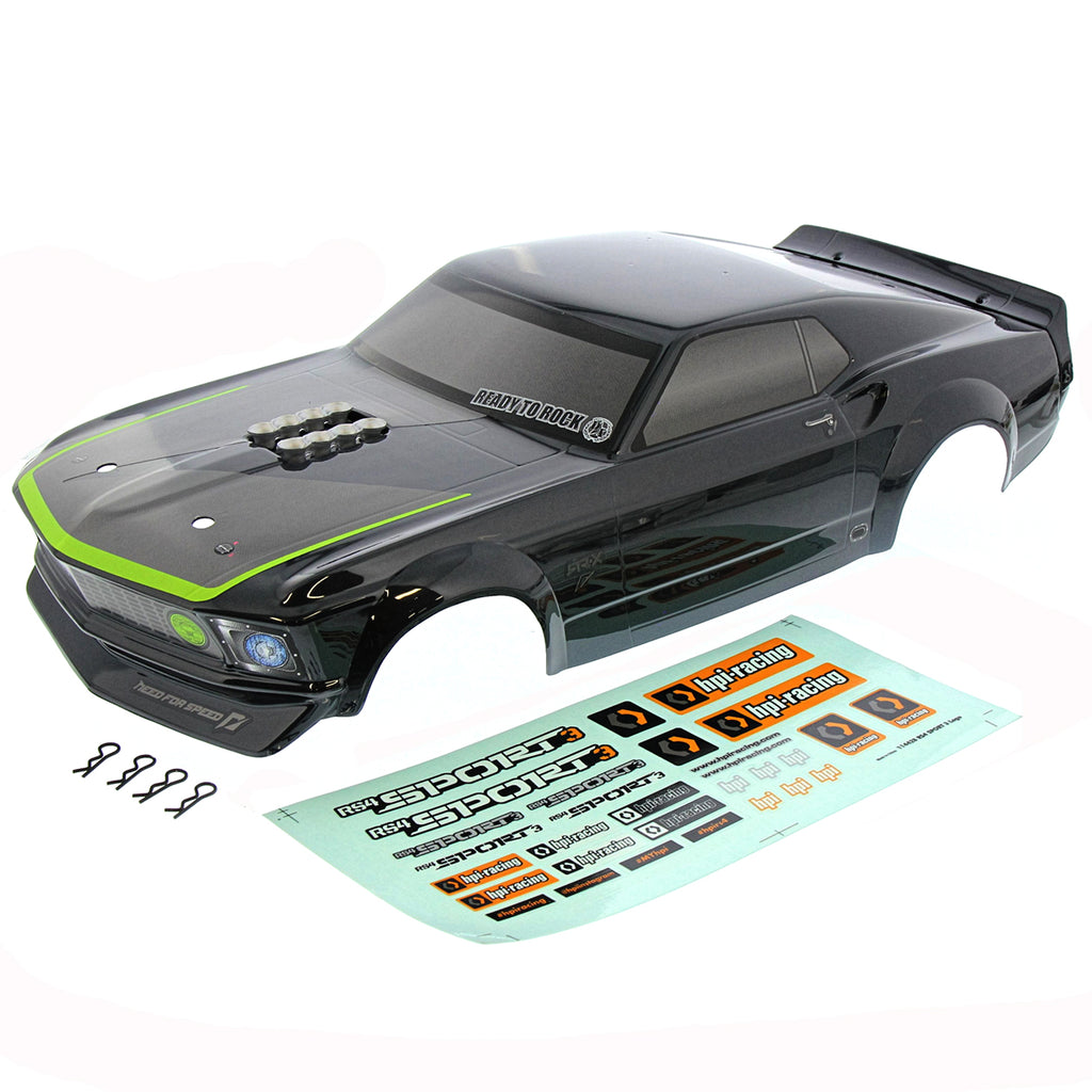 RS4s Body Black 120102 Ford Mustang 1969 RTR-X Body, Decals, & Clips
