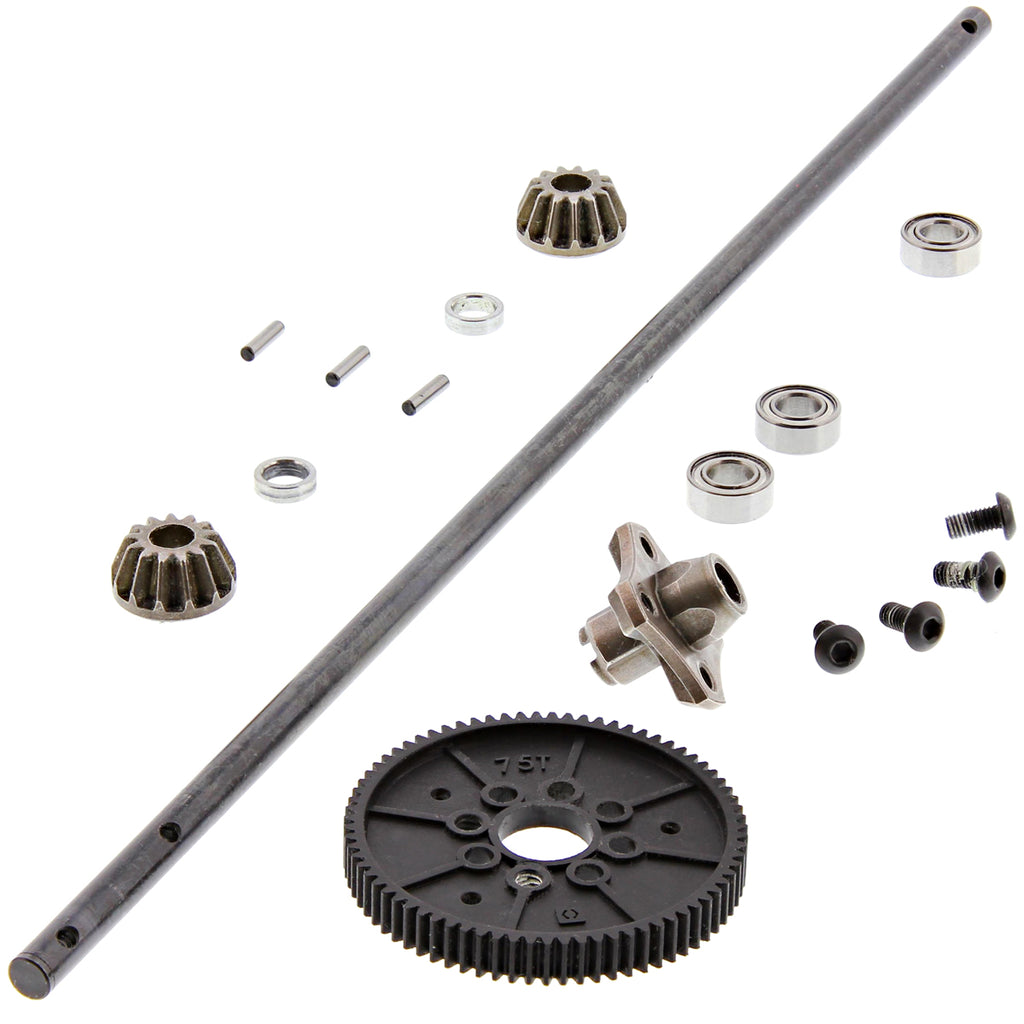 RS4s DS Center 114343 Center Drive Shaft, 13T Bevel Gears, 75T Spur Gear & Hub