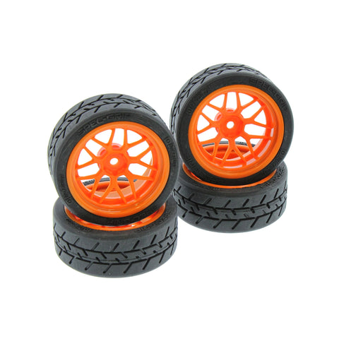 HPI Racing 1/10 RS4 Sport 3 Flux Tech 7 Orange Wheels & Spec-Grip Tires