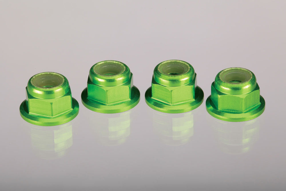 TRA1747G 1747G Locking Nuts, Aluminum, Flanged Serrated 4mm, Green