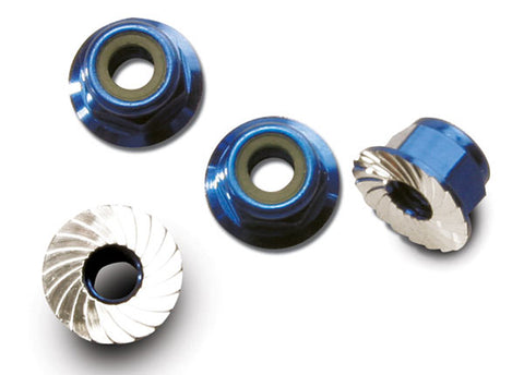 Traxxas Locking Nuts, Aluminum, Flanged Serrated 4mm, Blue, 1747R