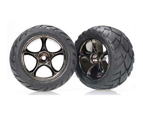 "Traxxas Anaconda Tires, Tracer 2.2"" Wheels Black Chrm Rear, 2478A"