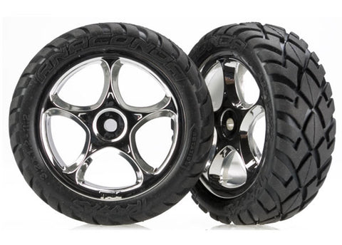 "Traxxas 2 Front Anaconda Tires & 2.2"" Wheels - Chrome, 2479R"