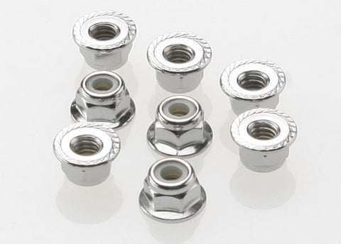 Traxxas Nylon Locking Nuts, 4mm Flanged, Steel, 3647