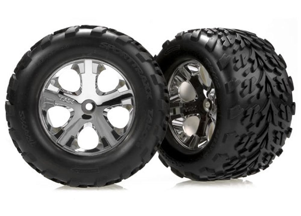 TRA3668 3668 2 Rear Chrome Wheels & Talon Tires