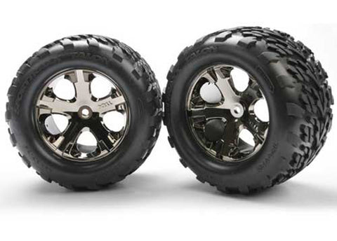 Traxxas 2 All-Star Black Chrome Wheels & Talon Tires, 3668A