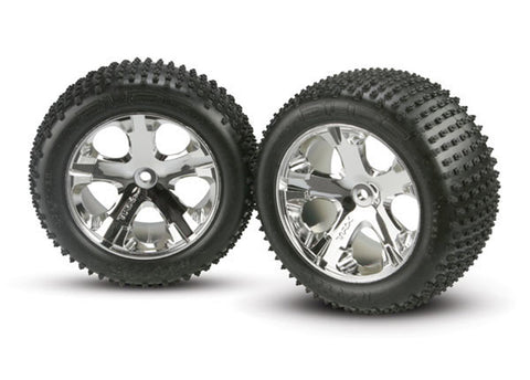 "Traxxas Alias Tires, All-Star Wheels, 2.8"", Chrome, Rear, 3770"