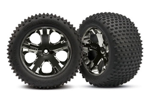 "Traxxas Alias Tires, 2.8"" All-Star Wheels, Blk Chrome, Rear, 3770A"