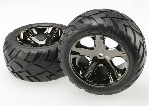 Traxxas All-Star Black Chrome Wheels, Anaconda Tires Rear, 3773A