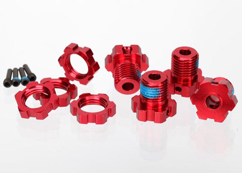 Traxxas Splined Wheel Hubs/Nuts, 17mm Red Anodized (4), 5353R