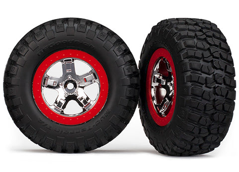 Traxxas Mud-Terrain Tires, SCT Wheels, Chrome/Red, 2WD/4WD, 5867