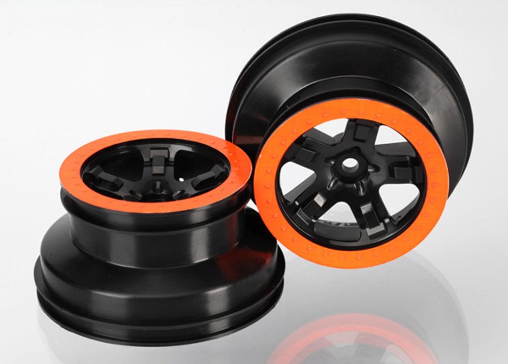 TRA5868X 5868X 2 SCT Black Wheels w/ Orange Beadlocks