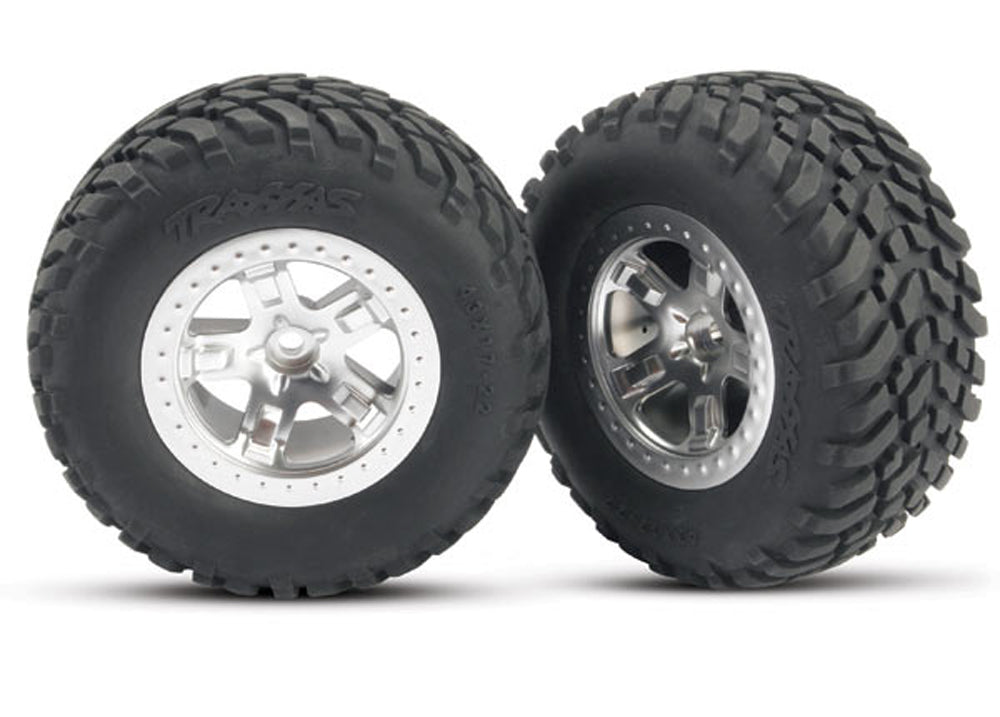 TRA5873 5873 2 SCT Offroad Tires w/SCT Satin Chrome Wheels