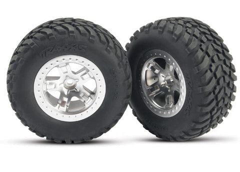 Traxxas 2 SCT Offroad Tires w/SCT Satin Chrome Wheels, 5873