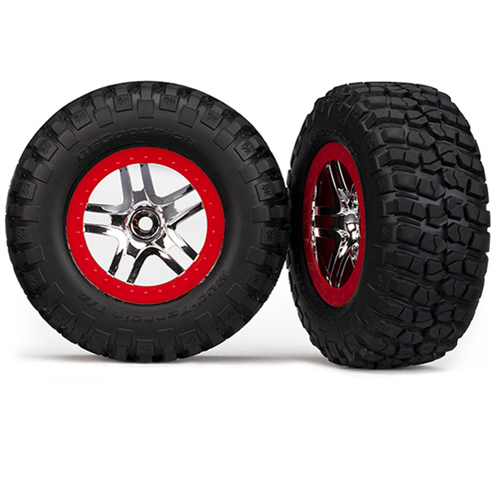TRA5877A 5877A 2 Mud Terrain Tires/Wheels Red/Chrome