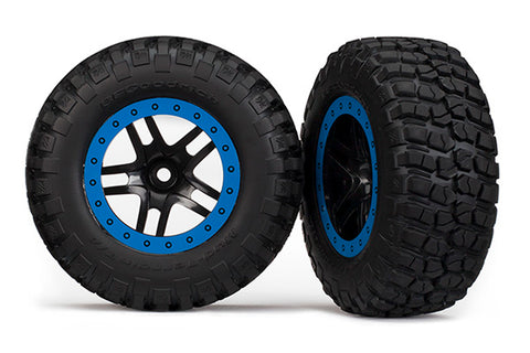 Traxxas BFG Mud-Terrain Tires, SCT SS Wheel, Chrome/Blue, 5883A