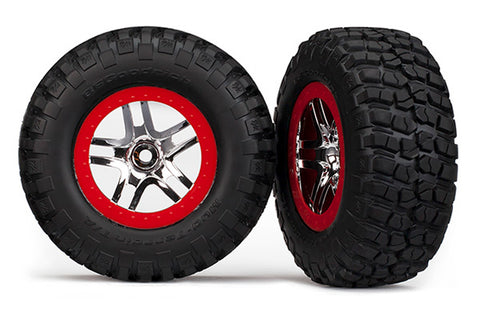 Traxxas Mud-Terrain Tires, S1, SCT SS Wheels, Chrome/Red, 6873R