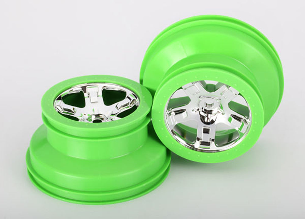 TRA6875 6875 2 SCT Chrome Wheels w/Green Beadlock