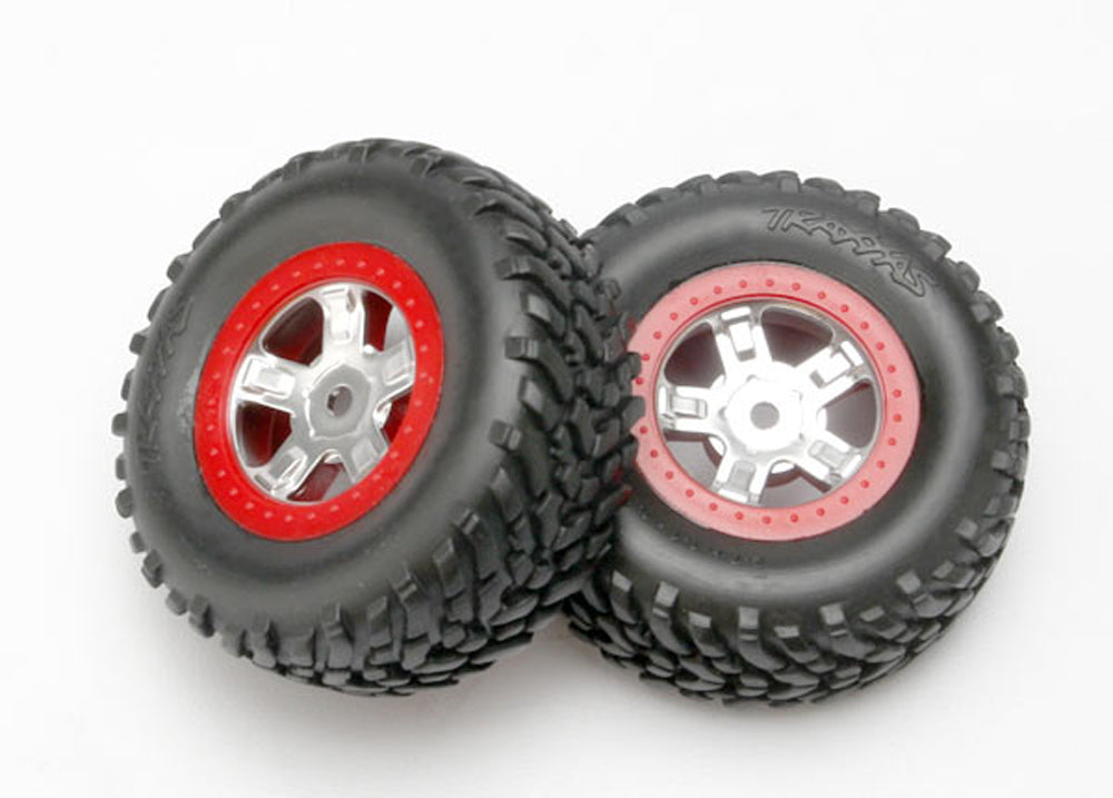 TRA7073A 7073A SCT Off-Road Tires, SCT Wheels, Satin Chrome/Red