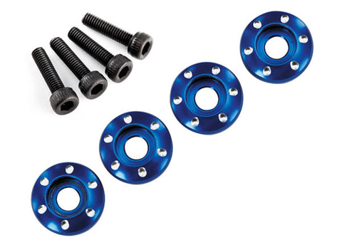 Traxxas 4 Wheel Nut Washer w/Screws - Blue Aluminum, 7668