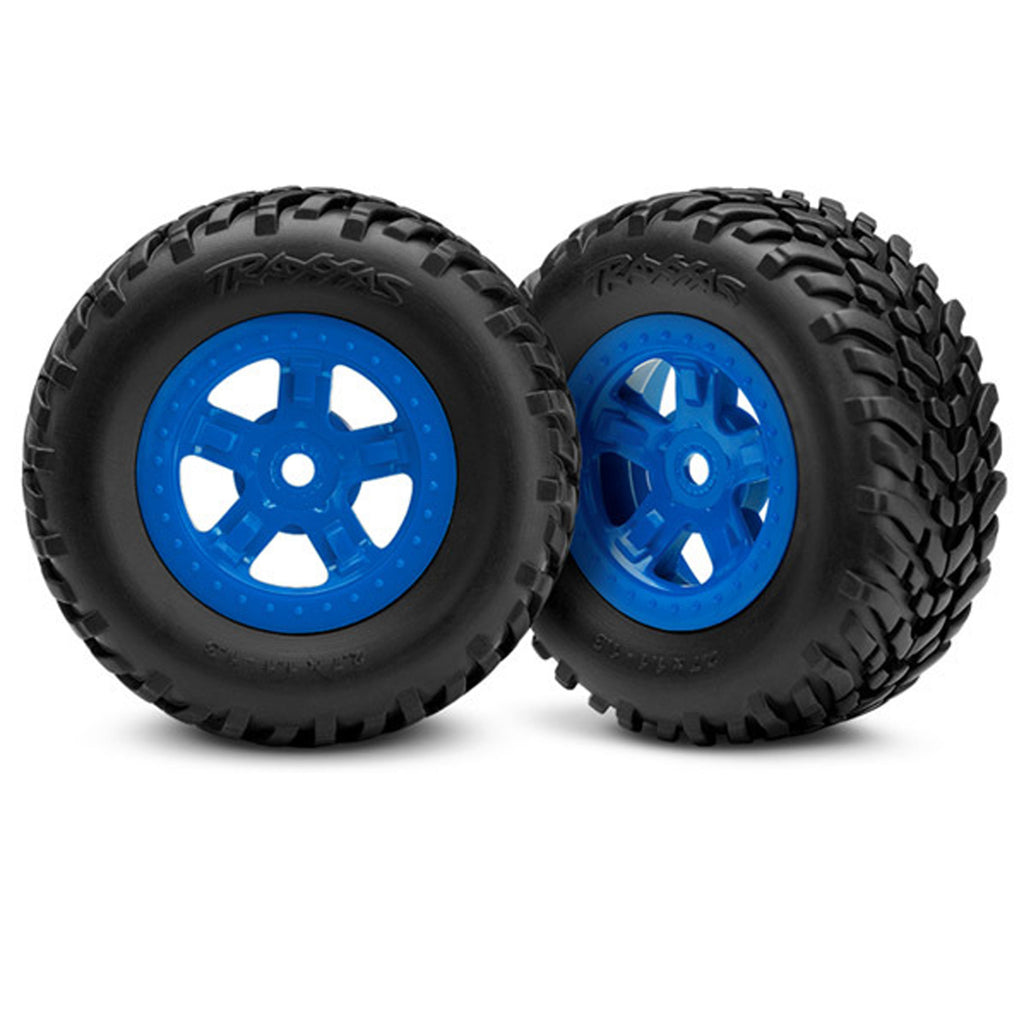 TRA7674 7674 SCT Off-Road Racing Tires& SCT Wheels, Blue