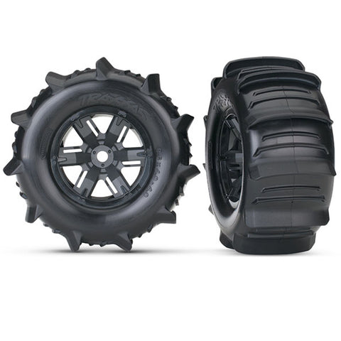 Traxxas Paddle Tires w/ Black Wheels, 7773