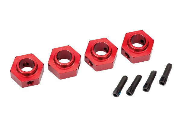 TRA8269R 8269R Aluminum Hex 12mm Wheel Hubs, Red