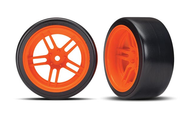 TRA8377A 8377A Rear Drift Tires & Orange Spoke Wheels