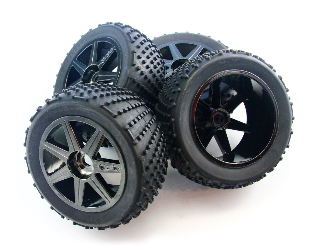 Truggy4.6 Tires 107014 Shredder Tires, Foams & Black Chrome Wheels with 17mm Hex
