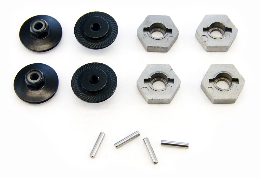 Truggy4.6 Wheel Nuts 107014 17mm Wheel Hexes, Pins & Flanged Lock Nuts
