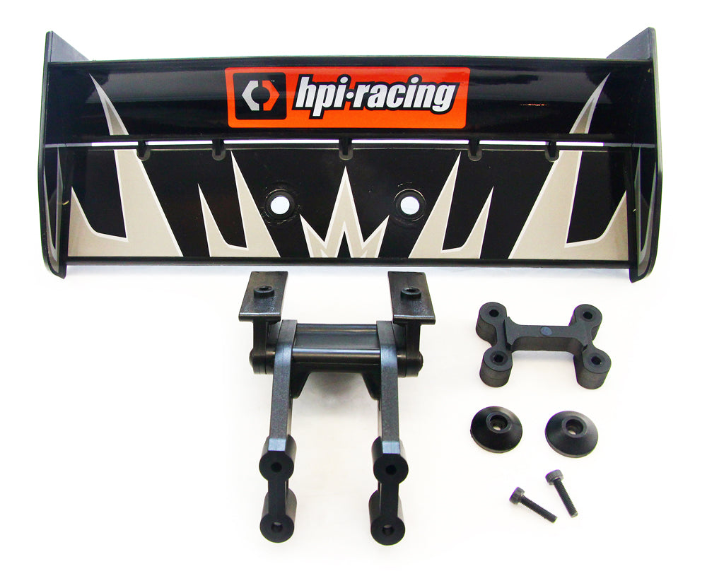 Truggy4.6 Wing 107014 Black Deck Wing, Decals & Brace Mount