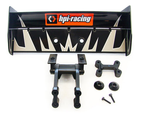 HPI Racing 1/8 Trophy Truggy 4.6 Black Deck Wing, Decals & Brace Mount