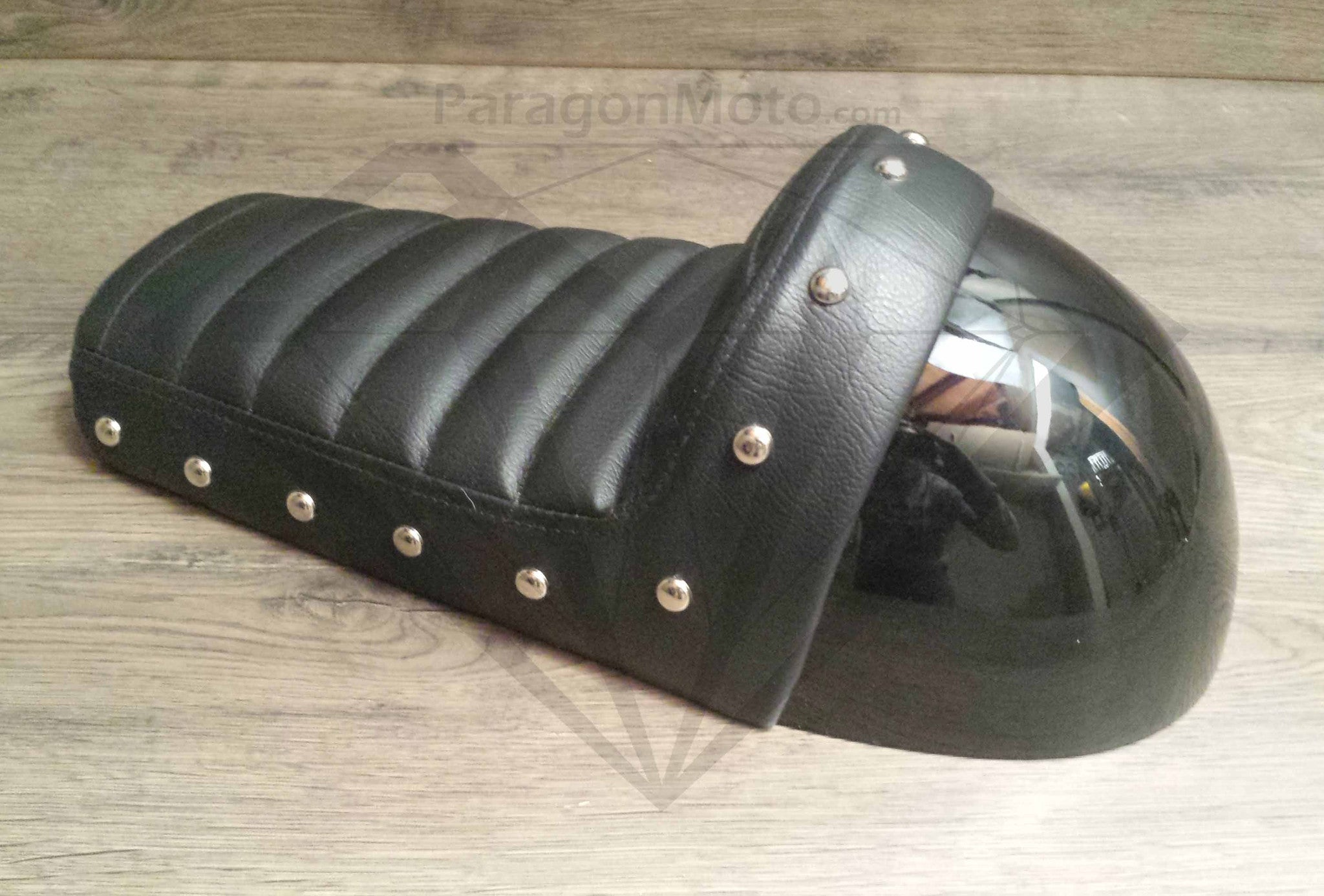 Black Studded Hump Seat - Leather Cushion and Bubble Back - Paragon Moto  - 1