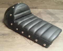 Black Studded Hump Seat - Leather Cushion and Bubble Back - Paragon Moto  - 4