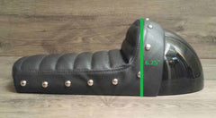 Black Studded Hump Seat - Leather Cushion and Bubble Back - Paragon Moto  - 5