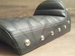 Black Studded Hump Seat - Leather Cushion and Bubble Back - Paragon Moto  - 2