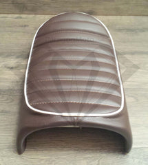 Brown with White Piping Cafe Racer Hump Seat - Paragon Moto  - 3