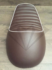 Brown with White Piping Cafe Racer Hump Seat - Paragon Moto  - 5