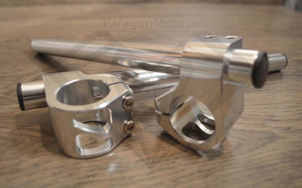 "7/8"" 35mm Clip-on Motorcycle Handlebars (silver) - Paragon Moto  - 1"