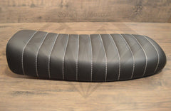 Black Caterpillar Style Seat - Flat Back Brat - Paragon Moto  - 4