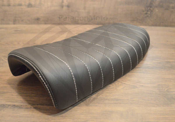 Black Caterpillar Style Seat - Flat Back Brat - Paragon Moto  - 1