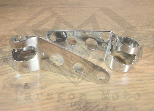 Chrome Headlight Mounting Brackets (31mm-43mm Forks) - Paragon Moto  - 1
