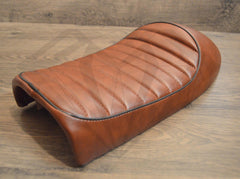 Paragon Moto Leather Look Cafe Racer Hump Seats. Fits Honda Yamaha Suzuki and more