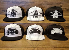 Paragon Moto's complete mesh trucker hat collection featuring cafe racer motorcycle image from a side view and a head-on view.